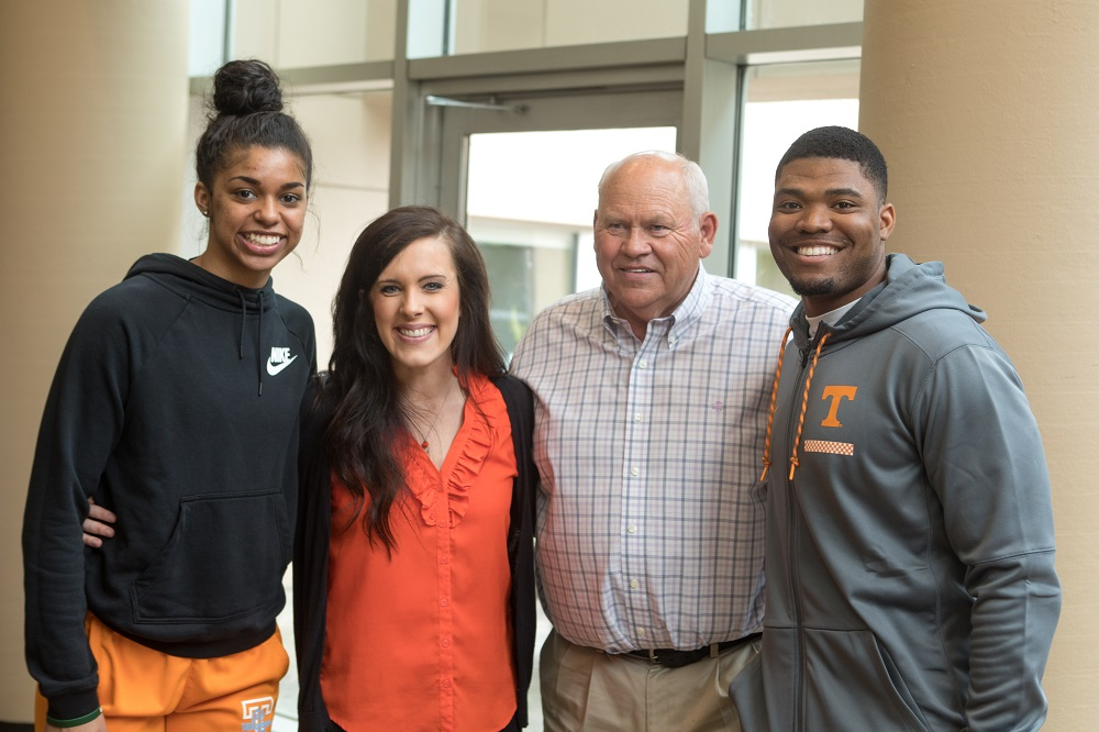 Coach Fulmer and student athletes visit cancer patients at Thompson Cancer Survival Center.